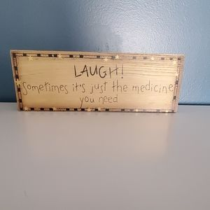 "Wooded Decoration  11×4"" Laughter!"